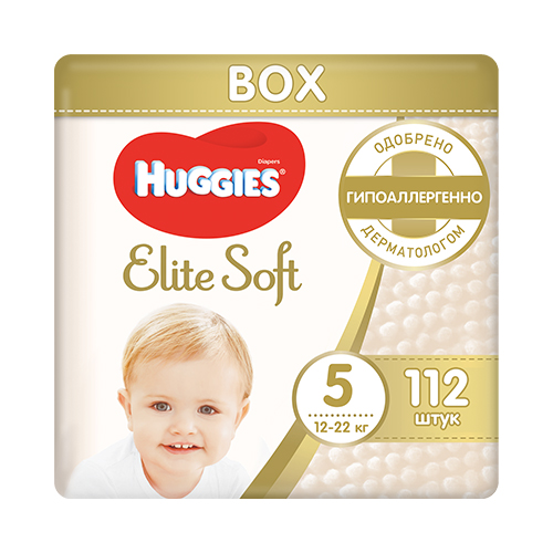 Подгузники Huggies Elite Soft 5 (12-22кг) BOX 112 шт.