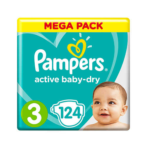 Pampers Active Baby-Dry 3 MIDI (6–10 кг), 124 шт.