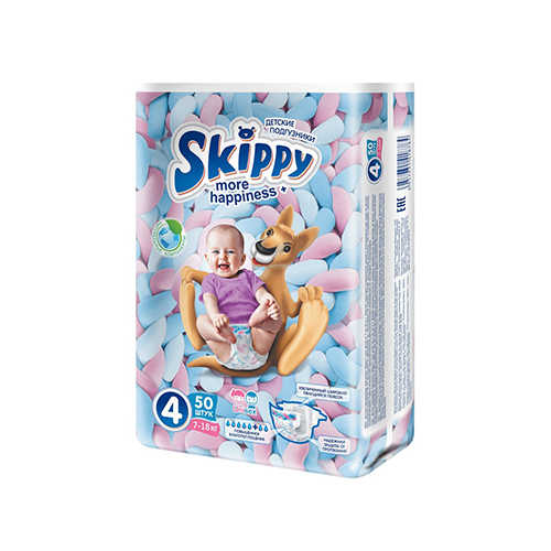 Подгузники Skippy More happiness Plus 4 Maxi (7-18 кг), 50 шт.